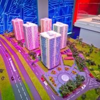 Макет жилого микрорайона на строительной выставке